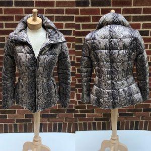 Calvin Klein Snakeskin Puffer Zip-Up Coat Size XS